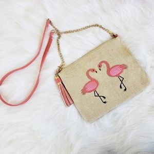 Gunny sack material pink flamingo purse